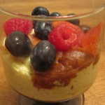 Custard with berries