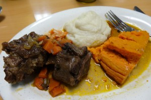 Grassfed oxtail with creamed cauliflower and carrot soufflee