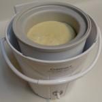 ice cream mix in freezer