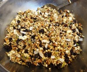 Mixing bowl of granola