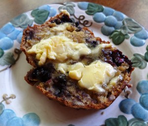 Slice of blueberry banana nut bread and butter